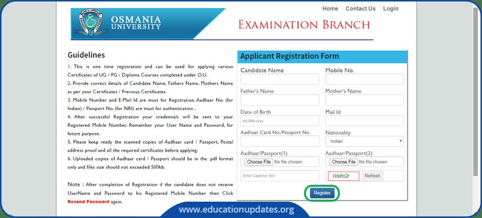 Osmania University OD Certificate Application