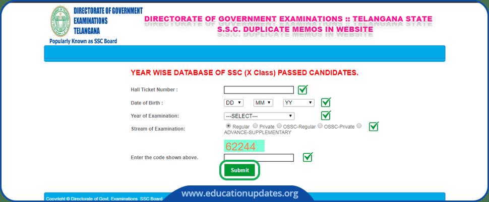 TS SSC Duplicate Memo Download