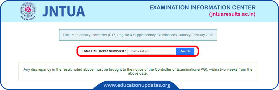JNTUA Results, JNTU Anantapur Results page with JNTUA Logo