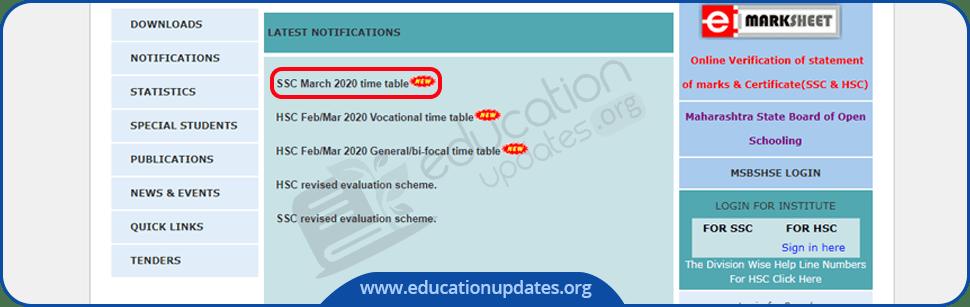 Maharashtra Board SSC Time Table