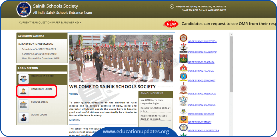Sainik School Result